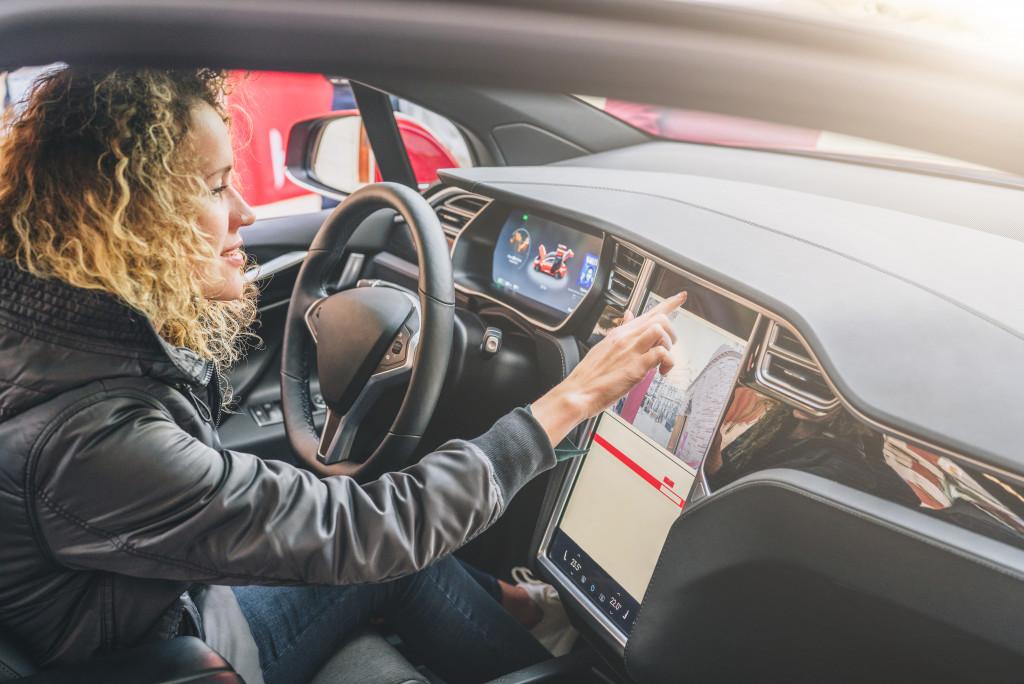 touchscreen dashboard of car