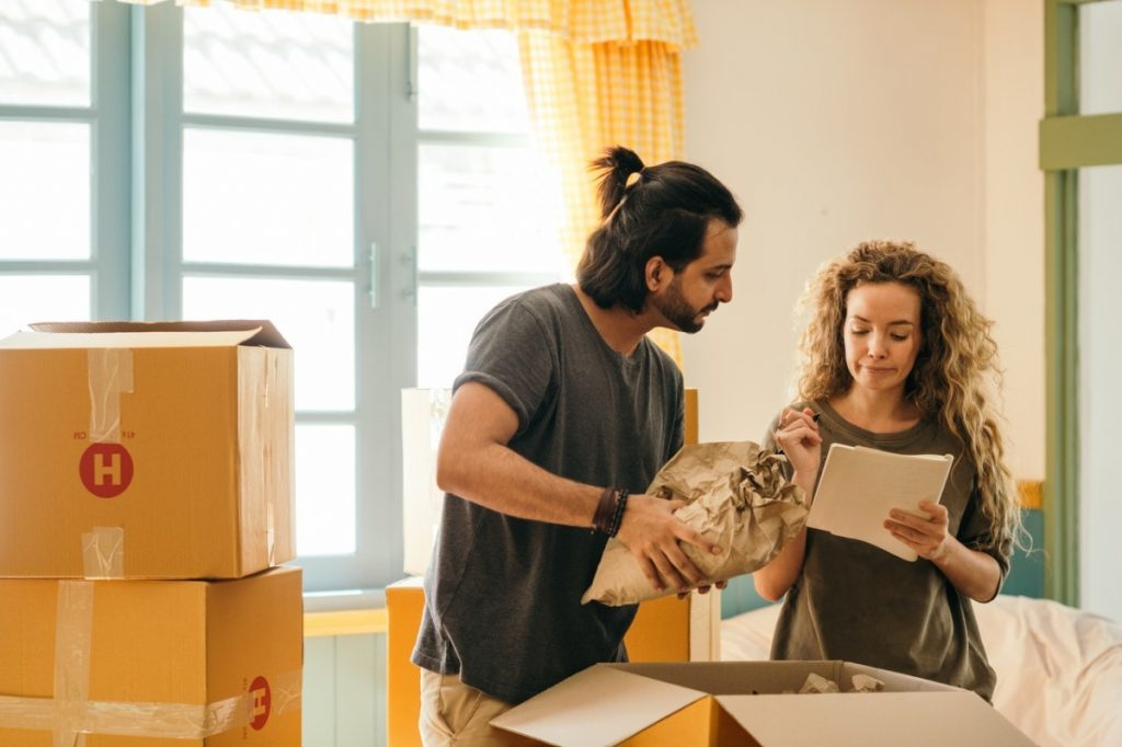 couple packing their things