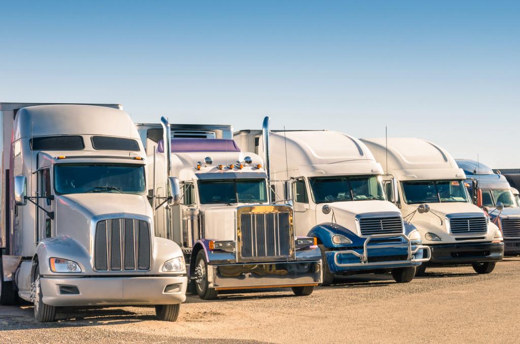 parked semi trucks
